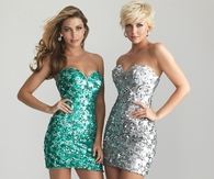 Sparkly Strapless Mini Party Dresses