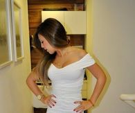 Hot all White dress and Nude strap shoes