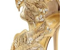 Embellished Gold High Heel Sandals by Giuseppe Zanotti