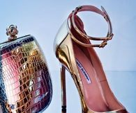 Manolo  Blahnik Gold Pumps with Coordinating Clutch & Accessories