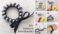 How to make a ribbon and pearl bracelet