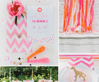 Baby shower theme using gold and pink colors