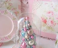 Cute Mini Tree with Pastel Vintage Ornaments