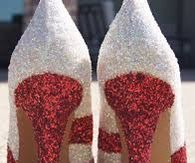 Red & White Glitter Stiletto Pumps