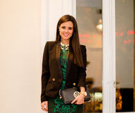 Little Black Dress with Holiday Green Embroidery & Blazer