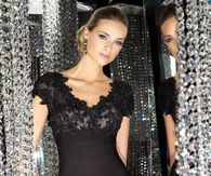 Sexy & Class Black Dress with Sequined Bodice