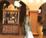 Holiday Dress with Gold Glitter Top & Full White Skirt