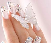 Pretty White Nails with Sequins