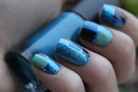 Blue Abstract Nail Art