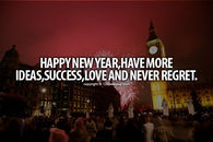 Happy New Year Have More Ideas, Success, Love and Never Regret