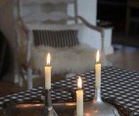 Old Metal Funnels used as Candle Holders