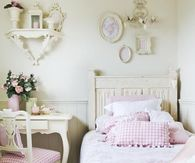 Young Girl's Vintage White & Pink Bedroom
