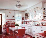 Kitchen with a Red and White Retro Design
