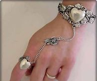 Silver Heart Hand/Wrist Jewelry for the Bride