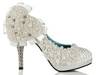 Wedding Pumps Embellished with White Pearls