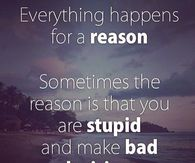 Everything happens for a reason but sometimes the reason is that you are stupid and make bad decisions