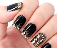 Black golden glitter nails
