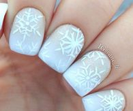 Powder white snowflake nails