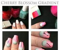 Cherry Blossom Gradient Nails