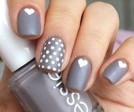 Gray Heart and Polka Dot Nails