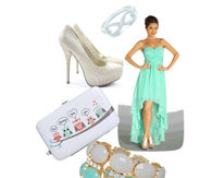 Mint Green Strapless Maxi Dress with Accessories