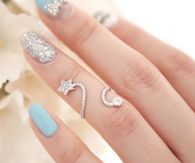 Pretty Turquoise and Silver Nail Art & Ring