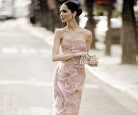 Strapless Pink Ruffled Gown