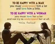 To be happy with a man