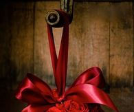 Silk Rose Ball with Ribbon