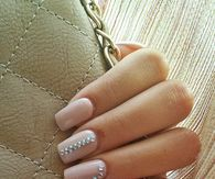 Pale Pink Nails with Silver Bling