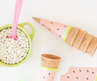 How to make a printable watermelon ice cream cone wrappers