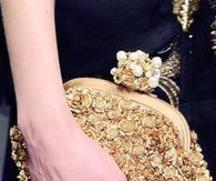 Clutch Encrusted with Gold Roses & a Pearl Clasp