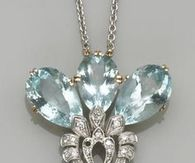 Necklace with Light Blue Stones and Diamonds