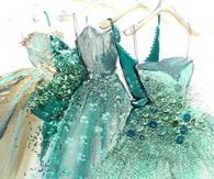 Illustration of Turquoise Blue Evening Gowns
