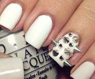 White spiked nails