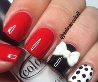 red, white andd black acrylic nail