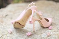 Pink Slingback Pumps with Heart Soles