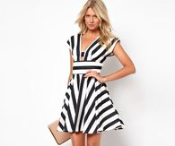 Black & White Striped Short Dress for Spring