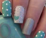 Teal Heart and Polka Dots