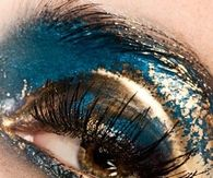 Glitter Gold and Blue Eye Makeup