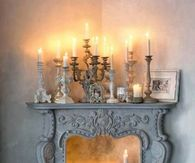 Candles in and on top of Fireplace