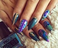 Blue and Purple stiletto nails