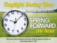 Daylight savings begins March 8