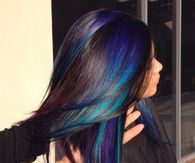 Blue and Violet Streaked Hair