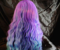 Long Green Purple And Blue Ombre Hair