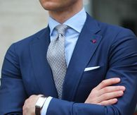 Navy Blue Suit With Grey Polkadot Tie