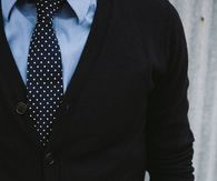 Black Polkadot Tie With Cardigan