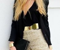 Gold Glitter Shorts With Black Top