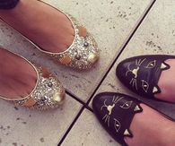 Glitter Gold & Cat Shoes