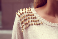 Gold Spiked Shoulder Shirt Accessory